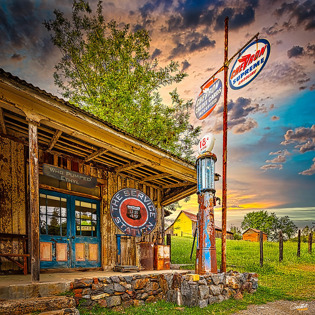 Old Gas Pump, Gas Station, Chevron, Sunset, Sheep Ranch