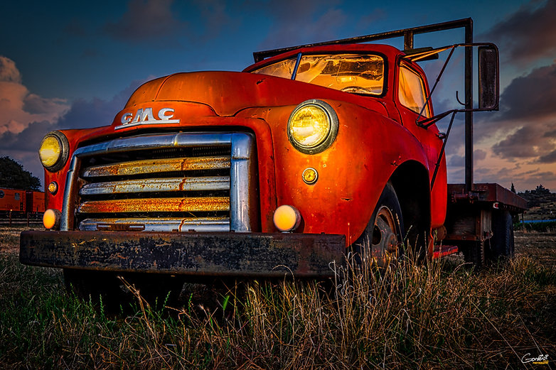 truck, GMC, sunset, hdr, light paint, old truck,