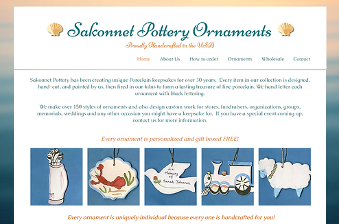 Website for Sakonnet Pottery Ornaments