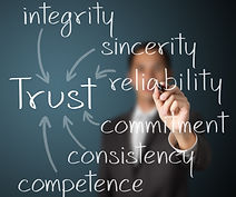 business man writing trust building conc