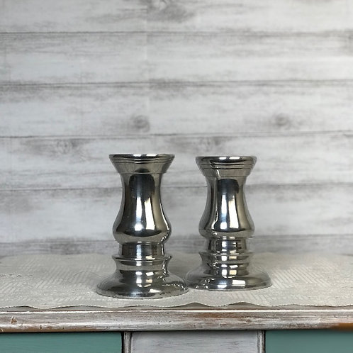 Silver Spindle Candle Holders