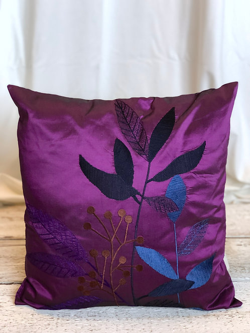 Violet Silk & Leaves Square Pillow