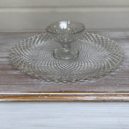 Crystal Platter and Dip Bowl