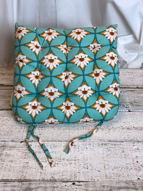 Spring Daisy & Turquoise Seat Cusion