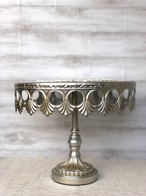 Brushed Silver Cake Serving Platter