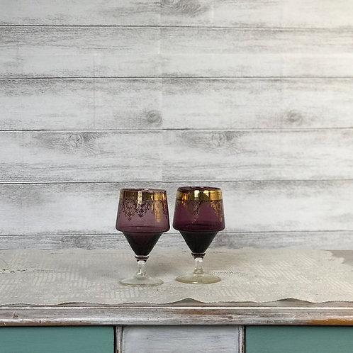 Purple & Gold Liqueur Glasses