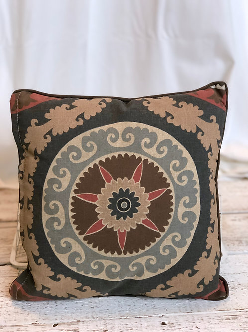 Beige, Blue & Rose Pillow