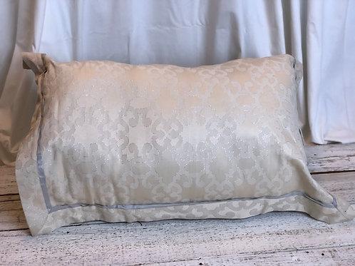 Beige & Grey Lined Silk Pillow