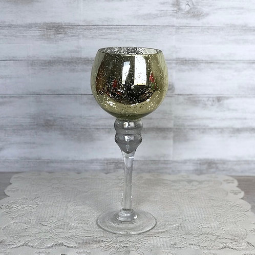 Gold Flaked Glass Candle Goblet