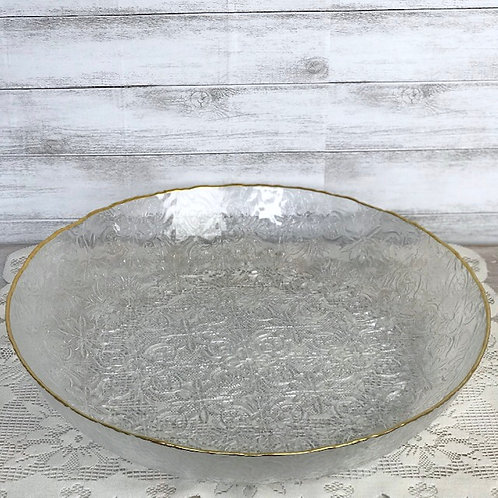 Glass Embossed Serving Bowl w/t Gold Rim