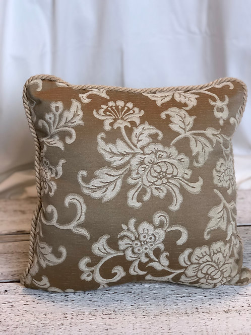 Beige Floral & Rope Pillow