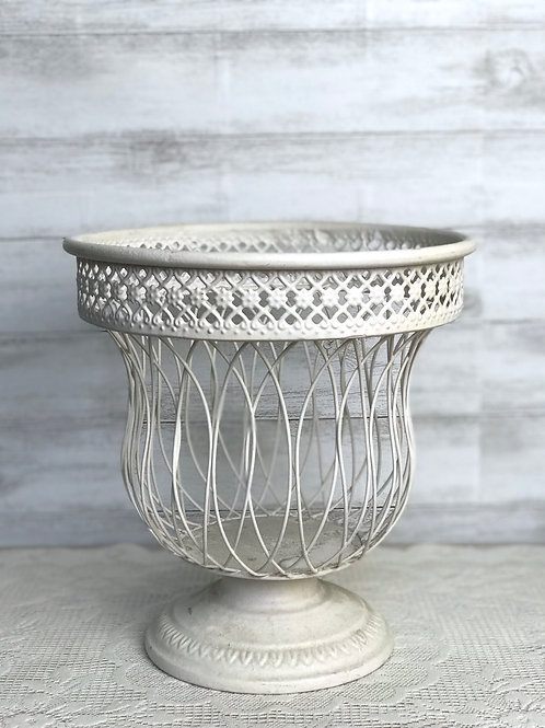 White Wicker Pillar Candle Holder