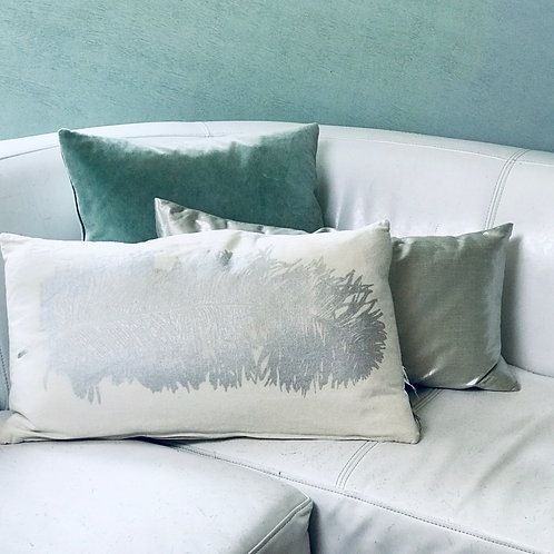 Silver Feather Pillow Set with Blue Accent