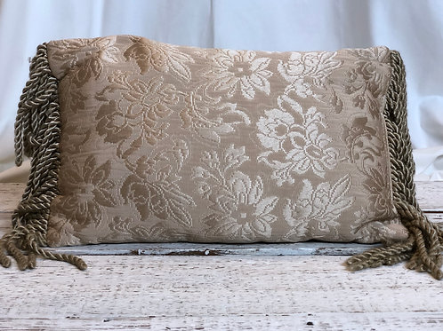 Beige Floral Pillow With Tassels