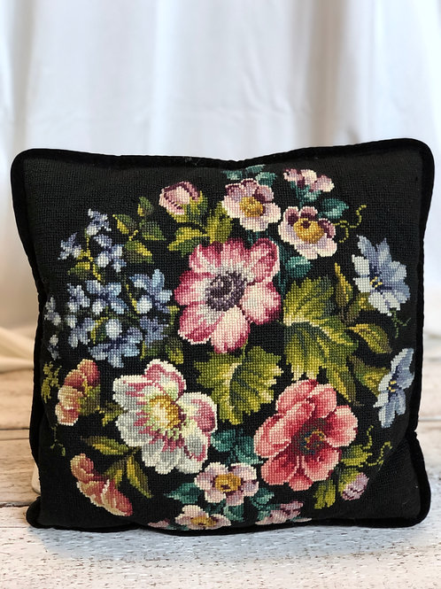 Embroidered Floral Square Pillow (Large)