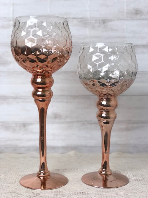 Rose Gold Crystal Candle Holders