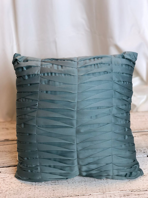 Turquoise Silk Folded Pillow