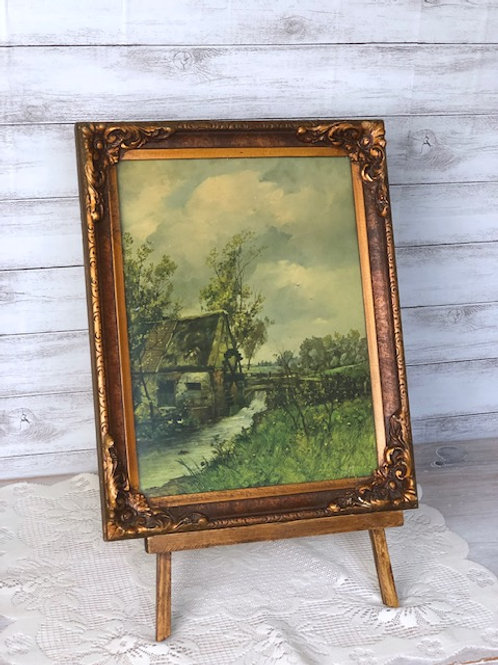 Antique Country Landscape Painting & Easel