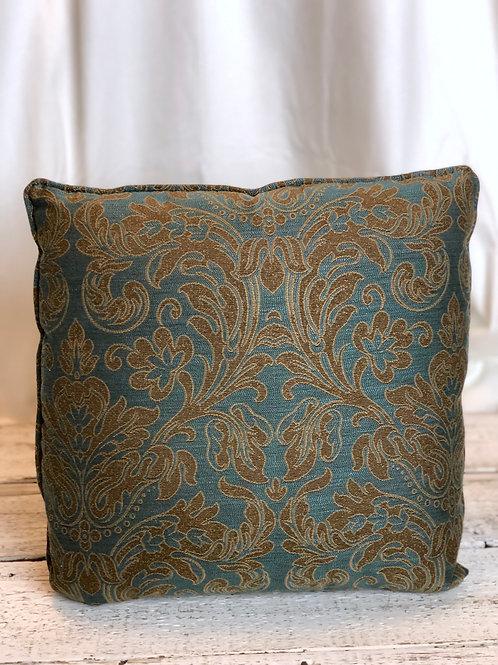 Brown & Turquoise Damask Pillow