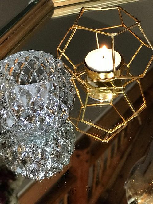 Geometric Tealight Holders in gold
