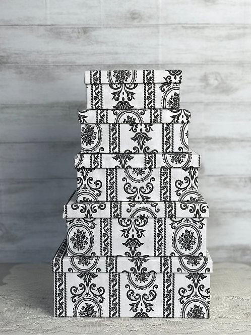 Black & White Rubber Embossed Card Boxes