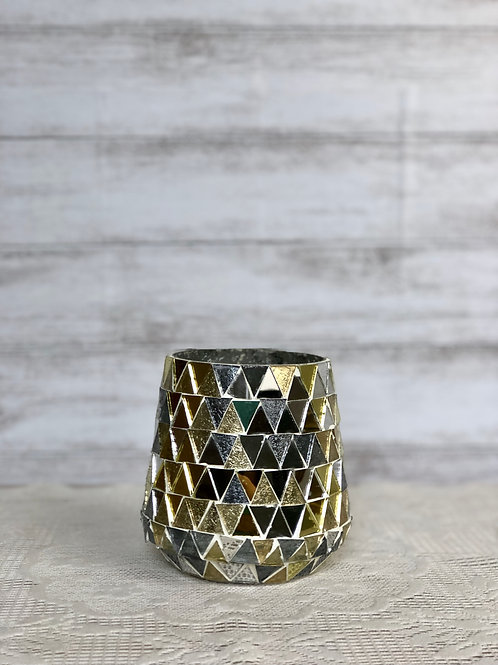 Mosaic Gold & Silver Mirror Candle Holder