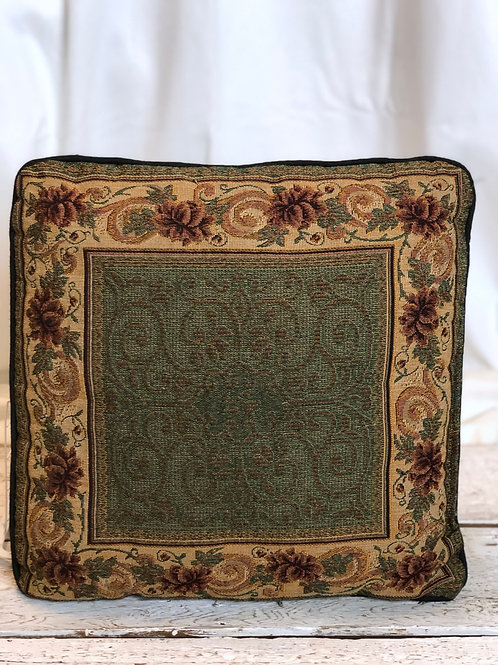 Green & Floral Embroidered Pillow
