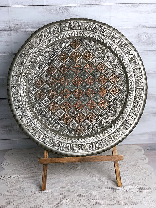 Silver & Copper Checkered Platter