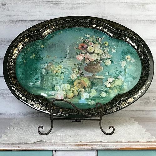 Turquoise & Floral Serving Platter/ Display