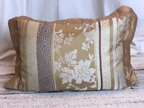 Beige & White Floral Silk Pillow