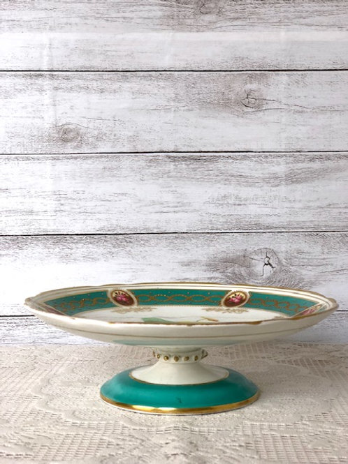 Green & Floral China Cake, Desert or Pastry Dish