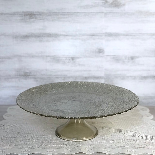 Taupe Glass Cake Platter