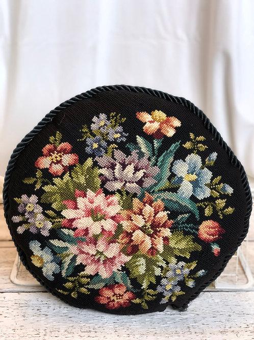 Embroidered Floral - Circular Pillow