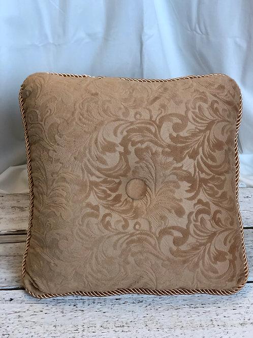 Beige & Button Square Pillow