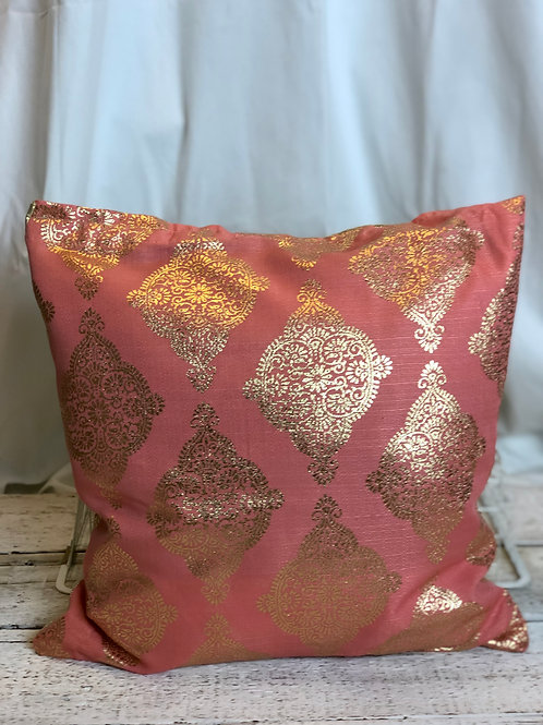 Rose & Shimmering Gold Pillow