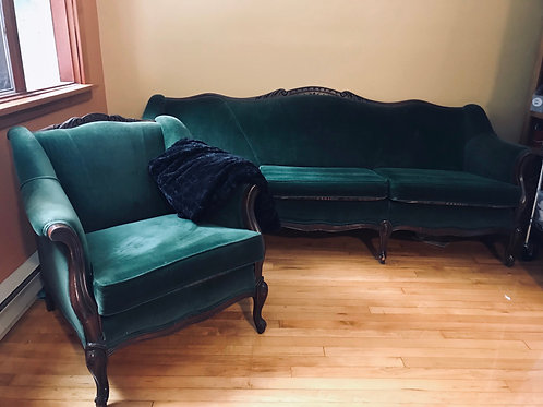 Emerald Green Sofa & Chair