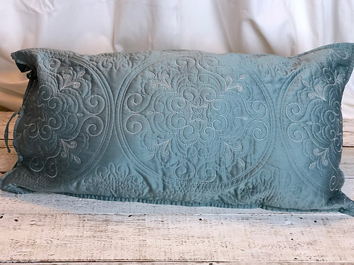 Antique Green Embroidered Pillow