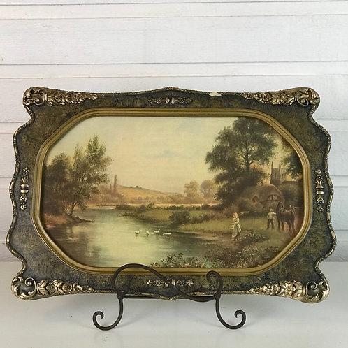 Vintage Landscape in Bronze Frame