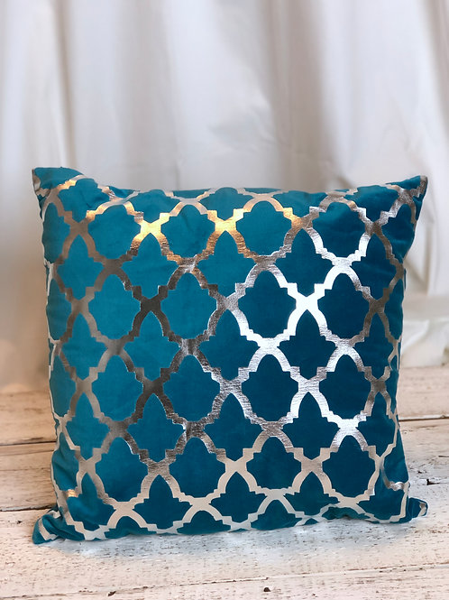 Dark Turquoise & Silver Pillow