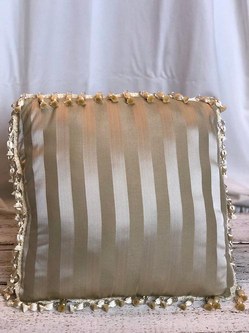 Champagne Silk Striped Pillow