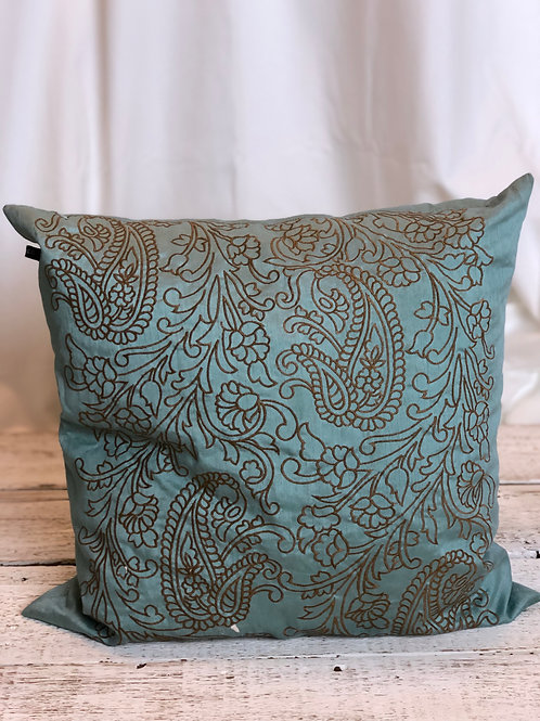 Turquoise & Brown Paisley Pillow