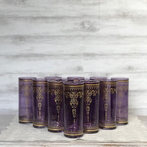 Purple Glass Candle Holders