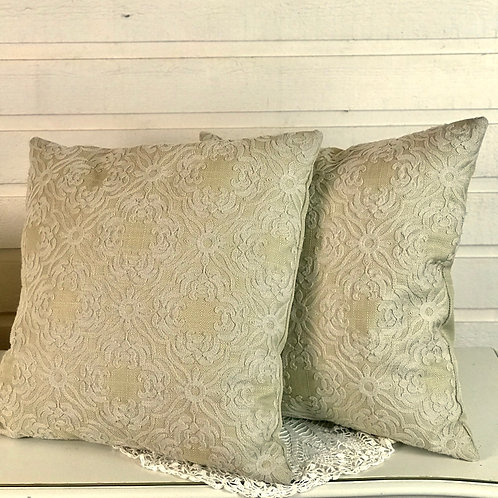 Gold/ Beige Textured Throw Pillows