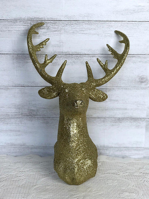Gold Sparkle Deer Head