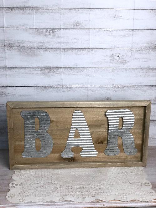 Metal & Wood Bar Sign