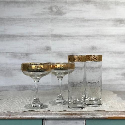 Gold Rimmed Cocktail Glasses & Sleeves