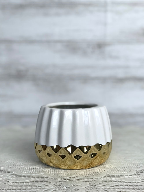 White & Gold Candle Holder