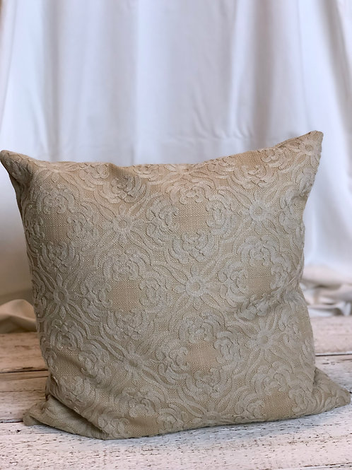 Beige With Lace Overlay Pillow