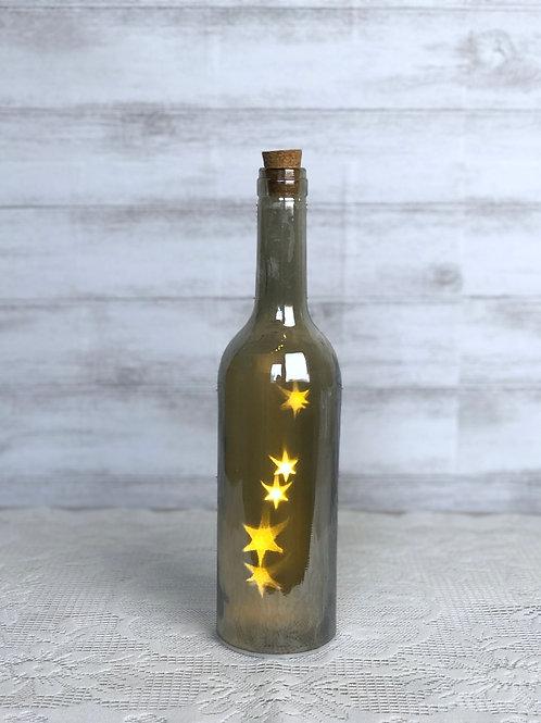 Smokey Grey Wine Bottle With Twinkle Lights (Medium)