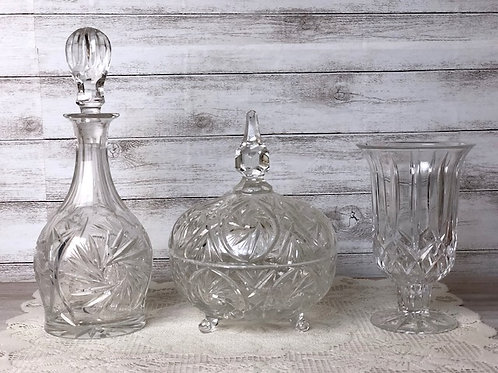 Crystal Collection - Wine Decanter, Candy Dish & Vase